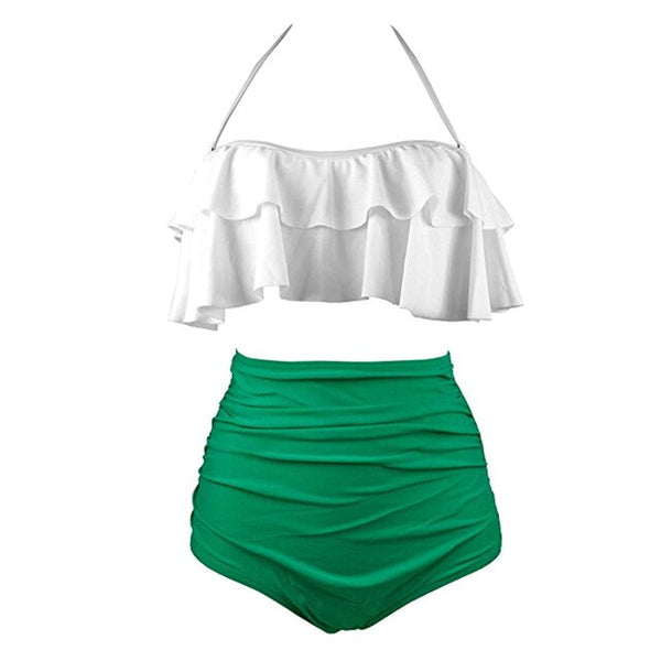 Women High Waist Halter Bikinis Set