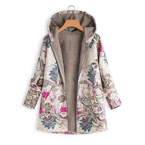 Women  Zipper Casual Pocket Floral Printed Jacket