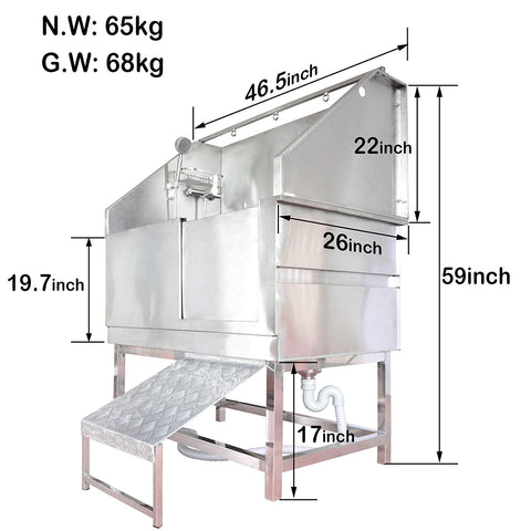 "46"" Stainless Steel Dog Grooming Bath with Ramp"
