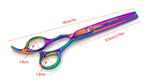 Rainbow Dog Grooming Scissors Four Piece Set with Case