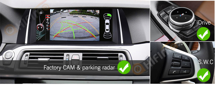 compatible with bmw f10 f11 factory functions - rearview camera idrive system and steering wheel controls