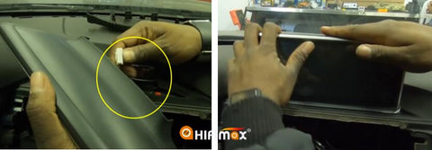 connect the power cable/lvds,usb etc, to the back of android screen, and install the screen to the dashboard