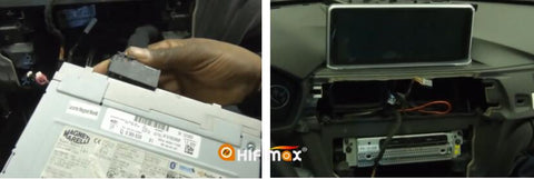 connect the power cable to factory head unit and install back to the dashboard