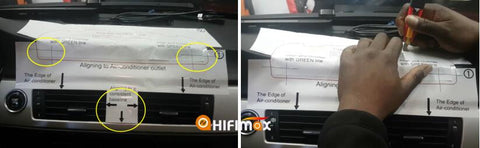 cut the dashboard and make a hole according to the guidence paper