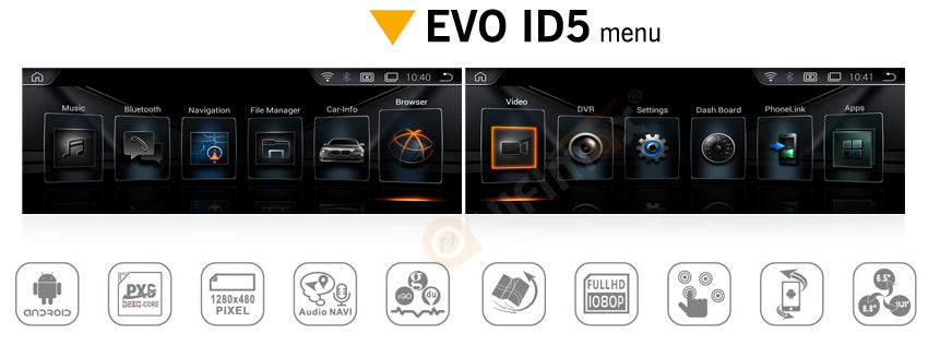 products ui -with bmw evo id5 menu style