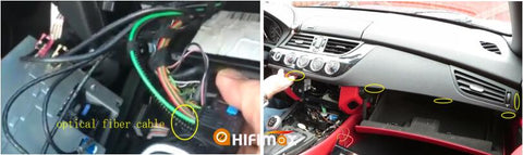 move the optical fiber to our power cable, take off the plastic frame in the front of dashboard