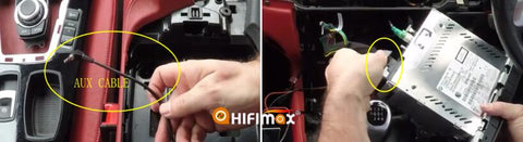 connect the AUX cable and insert the power cable and other factory harness to factory radio head unit