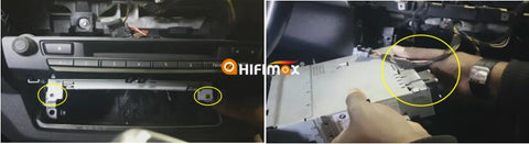 remove the bmw x5 x6 radio head unit and take off it's harness on the back