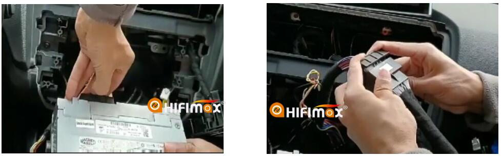 Remove the original harness from the CD host   and connect our cable to factory harness