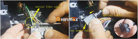 remove the optical fiber and insert it to our power harness