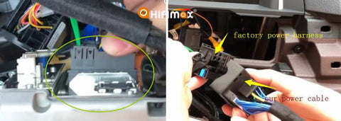 connect our power cables to factory harness and the Head unit