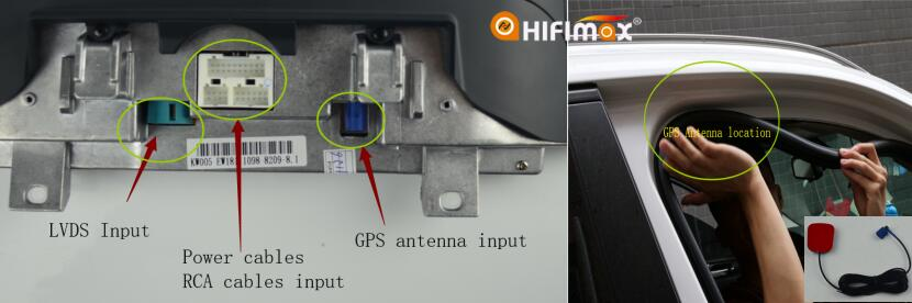 connect all the cables to the back of our android screen and location the gps antenna