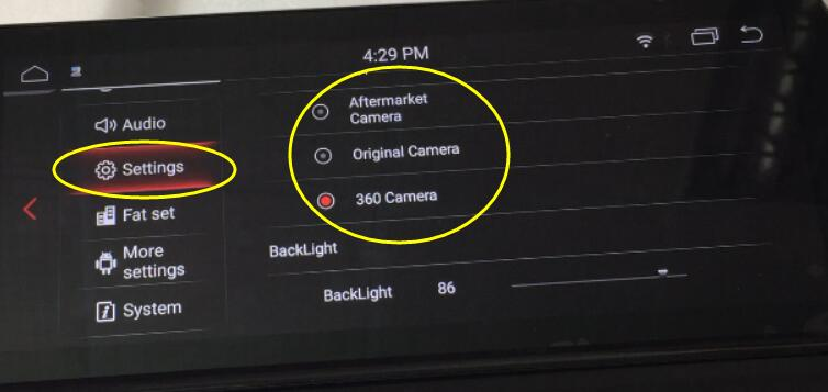 Settings for rearview camera