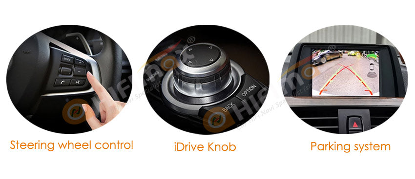 the carplay android auto support bmw original steering wheel controls,idrive,parking system