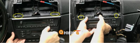remove the screws and take off the AC climate control panel and factory CD head unit