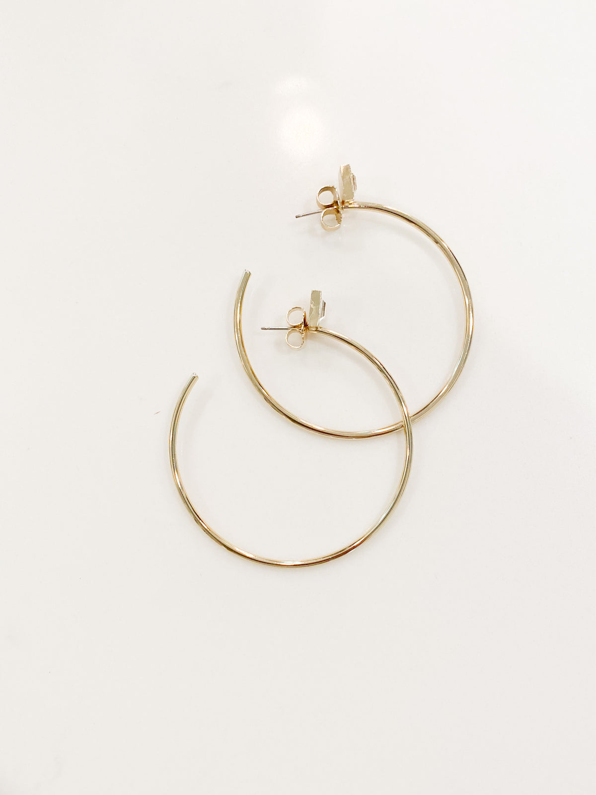 Gold Hoops w Crystal