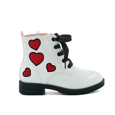 K-RICKY WHITE PATENT BOOTIES