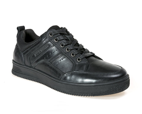 M-QADRY BLACK LEATHER SNEAKERS