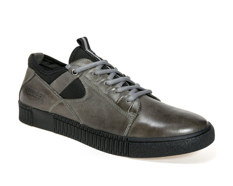 M-QUENTIN BLACK/GREY LEATHER SNEAKERS