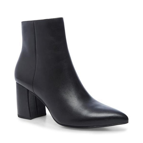 NADALIE BLACK LEATHER HEELED BOOTIES