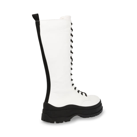 BEXLEY WHITE LEATHER CHUNKY BOOTS