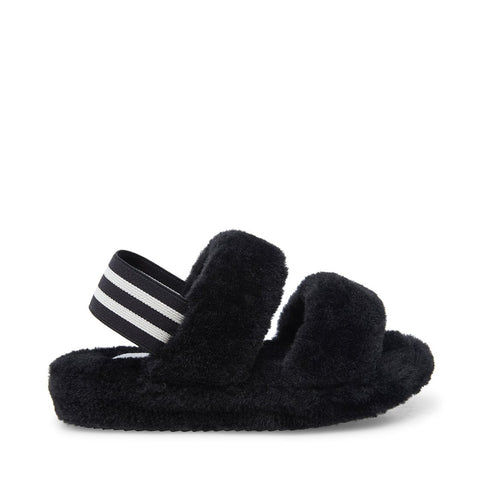 JCLOUD BLACK FLUFFY SLIDERS