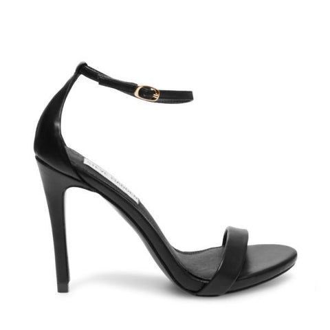 STECY BLACK LEATHER STILETTO SANDALS