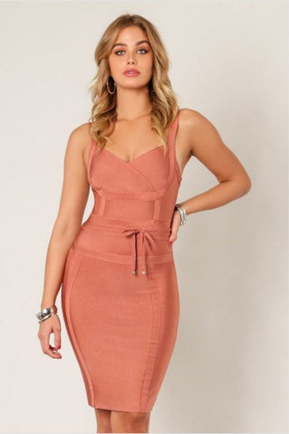 'LUCY' Waist Tie Body Con Dress- Rust