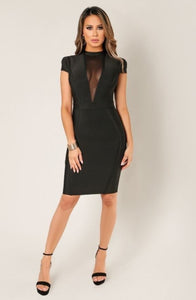 'Jasmine' V Neck Open Back Bandage Dress-Black