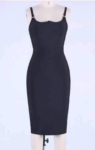 BLACK MINI BANDAGE DRESS LBD