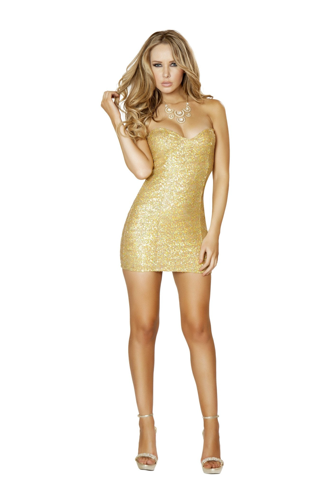 3153 - 1pc Gold Sequin Mini Dress