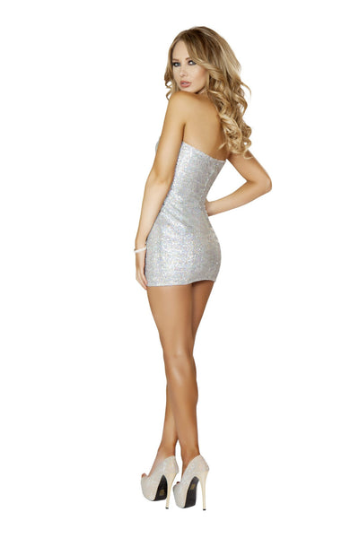 3153 - 1pc Silver Sequin Mini Dress