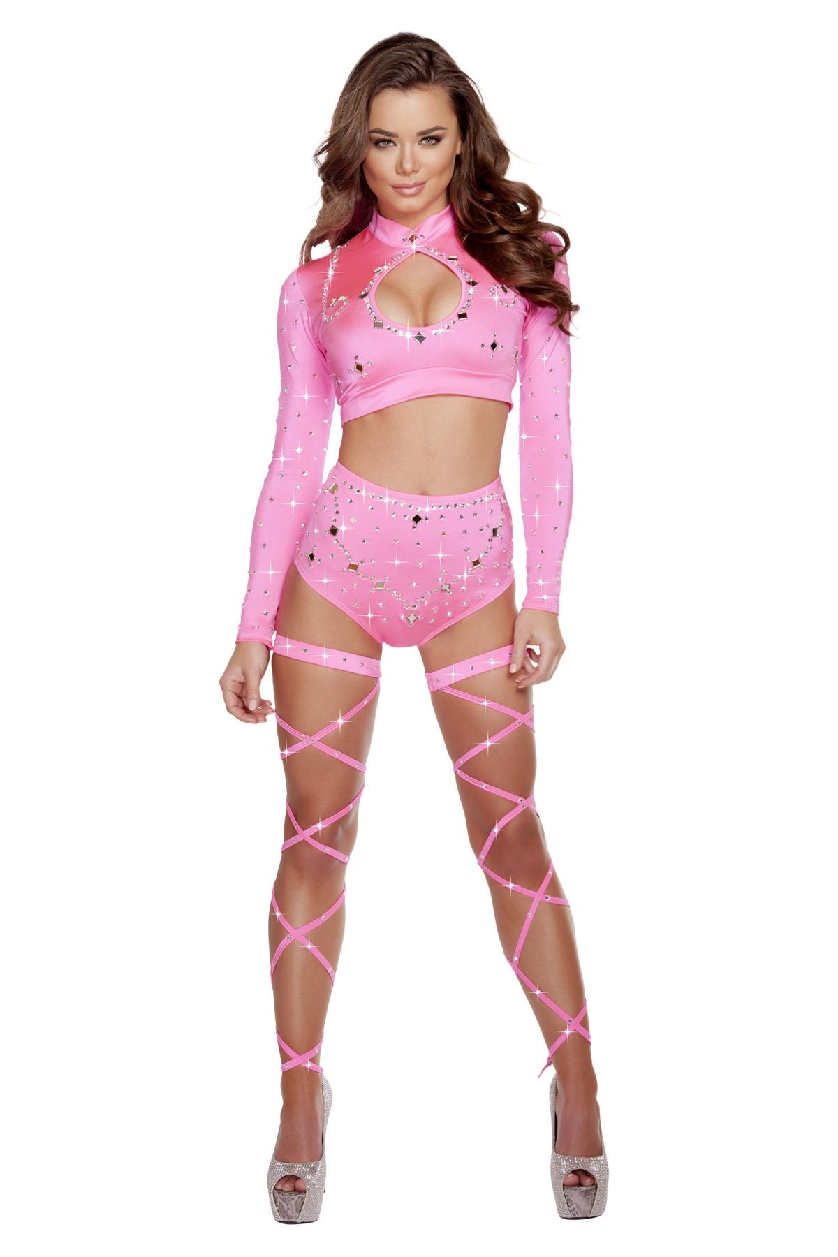 3204 - Hot Pink Long Sleeved Crop Top & High Waisted Shorts with Rhinestones