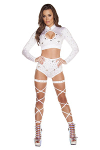 3204 - White Long Sleeved Crop Top & High Waisted Shorts with Rhinestones