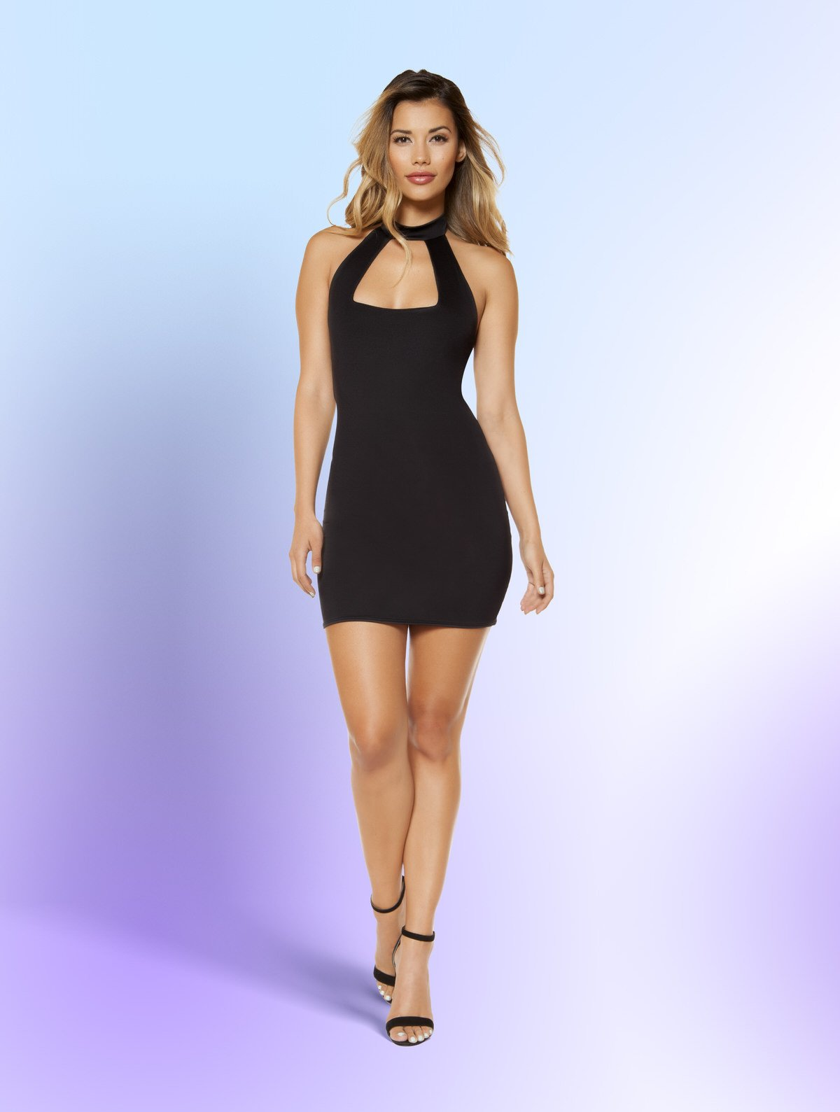 3344 - Partially Lined Cutout Top Mini Dress