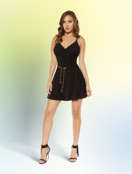 3352 - Partially Lined V-Neck Flared Mini Dress with Strappy Back Design
