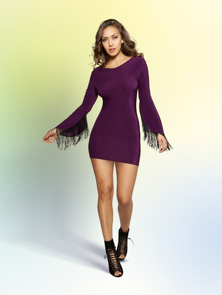 3358 - Fringed Sleeve Dress with Open Back
