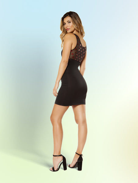 3364 - Dress with Star Shaped Glitter Sheer Mesh Top