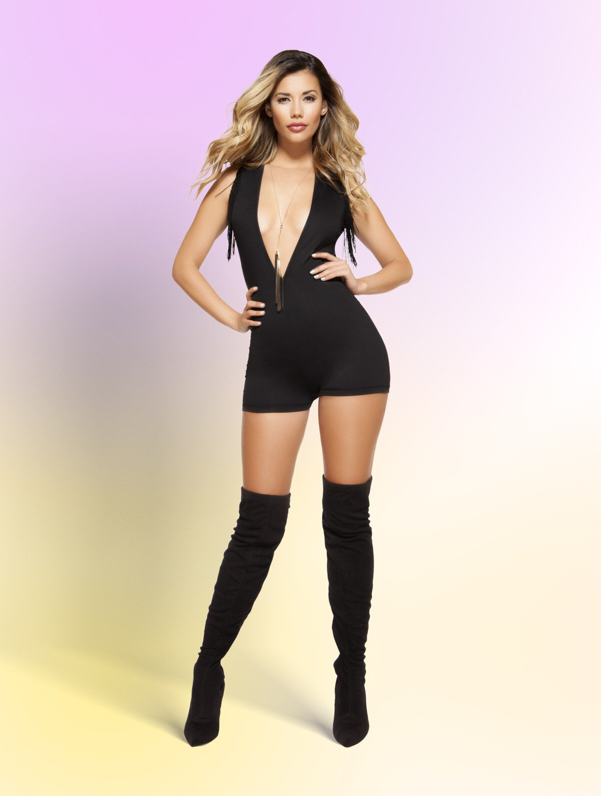 3373 - V-Neck Romper with Sleeveless Fringed Design