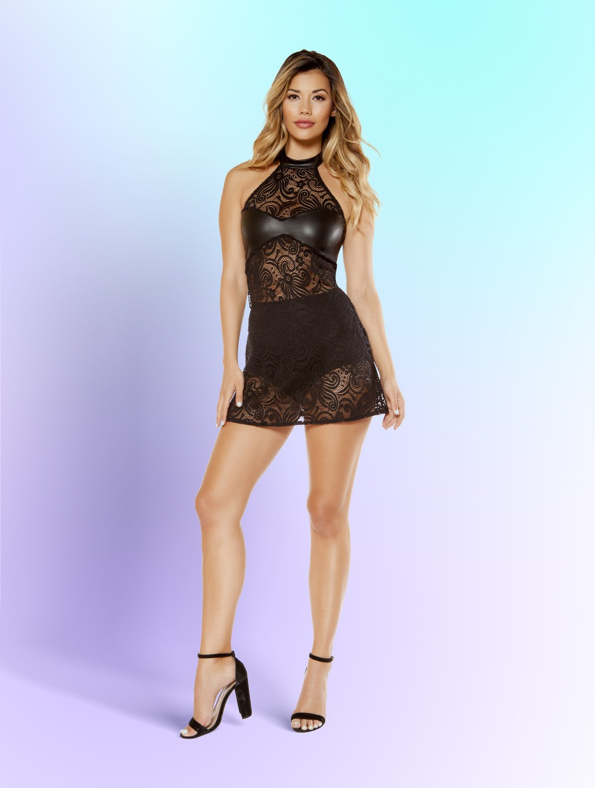 3379 - 2 Piece Lace Haltered Neck Dress and High Waisted Shorts