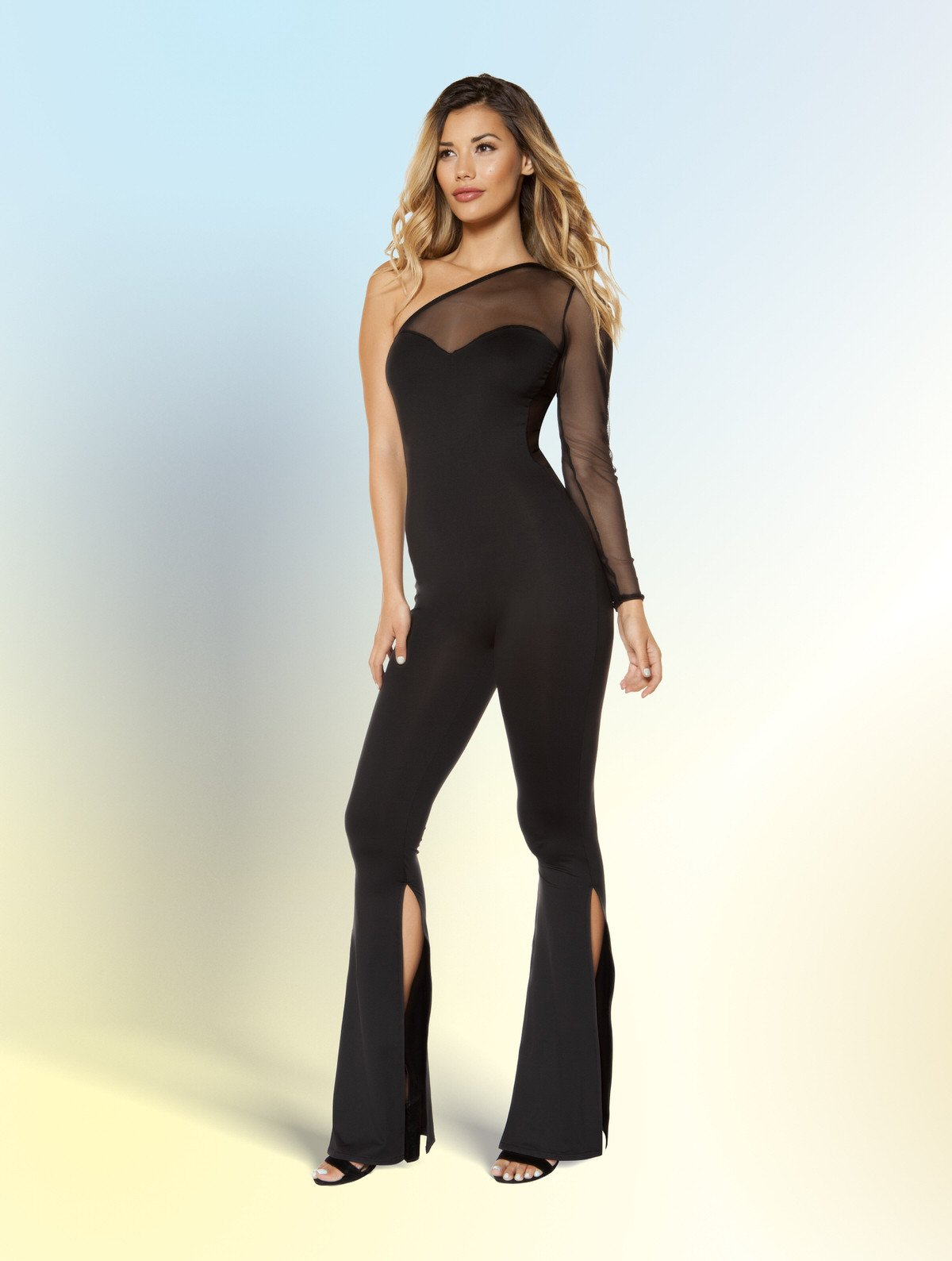 3399 - Single Sleeved Jumpsuit with Slit Bottoms