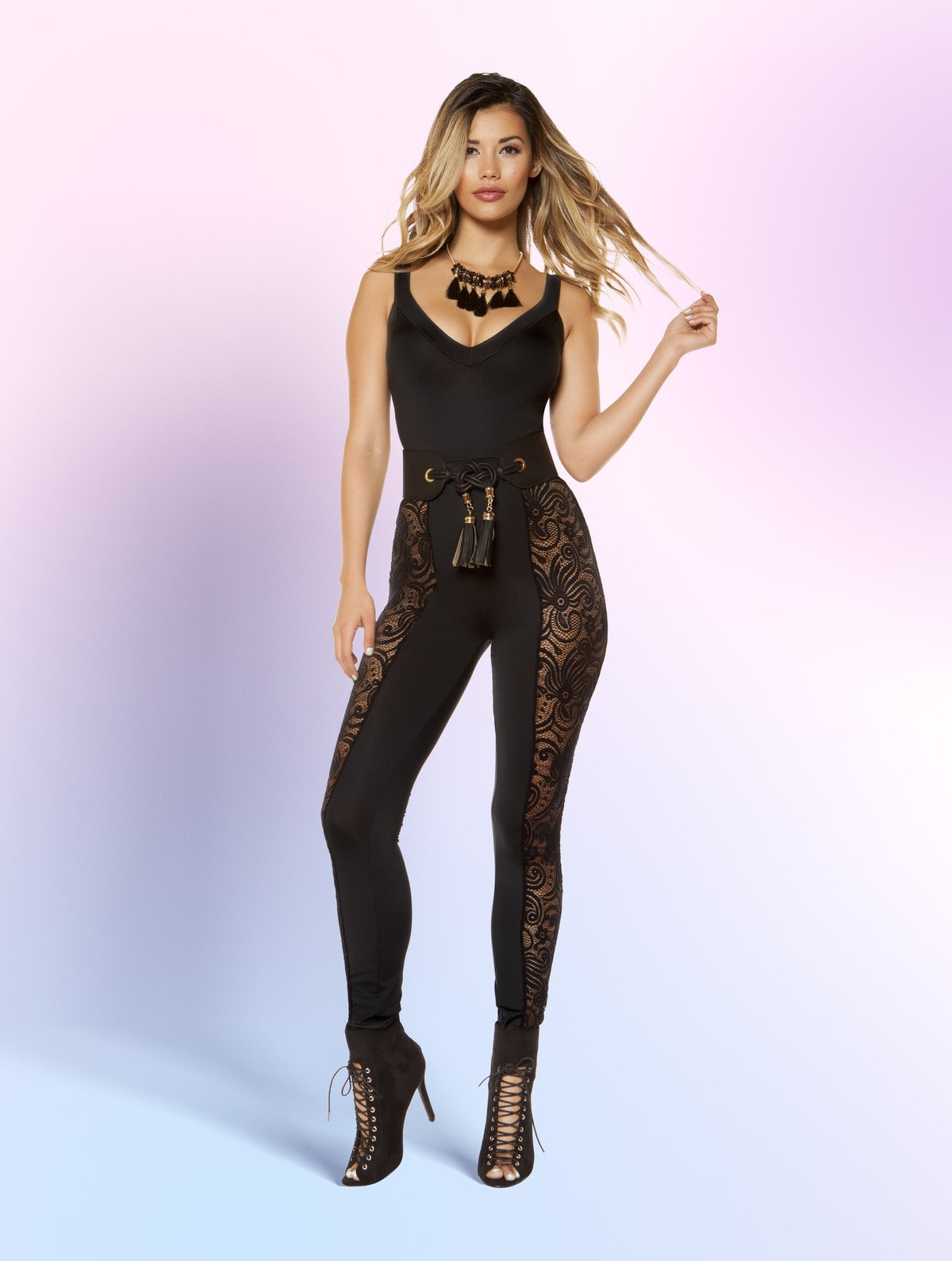 3402 - Jumpsuit with Laced Side Leg Panels