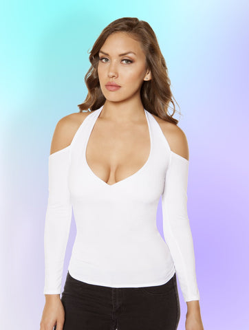 3408 - Long-Sleeved Top with Cutout Shoulders