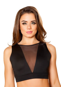 3445 - Roma Rave Cropped Top with Sheer V Neck