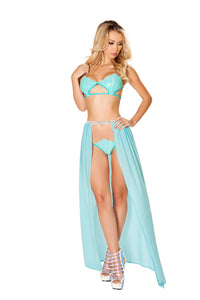 3483 - Roma Rave Blue Banded Open Skirt