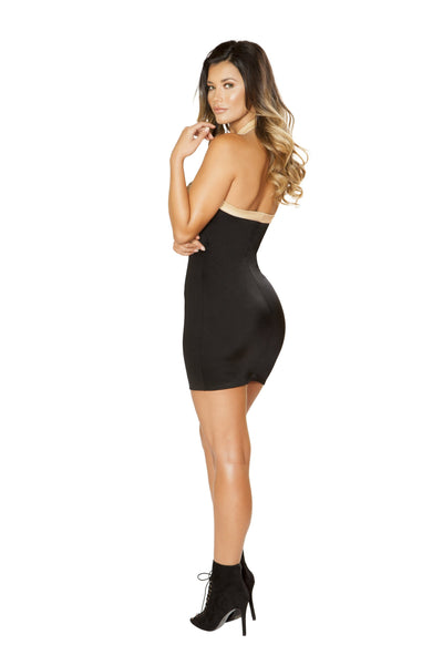 Roma Clubwear Black and Beige Two-Tone Zip-up Dress Back