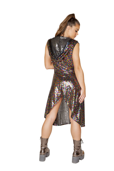 3541 - 1pc Sequin Hooded Coat