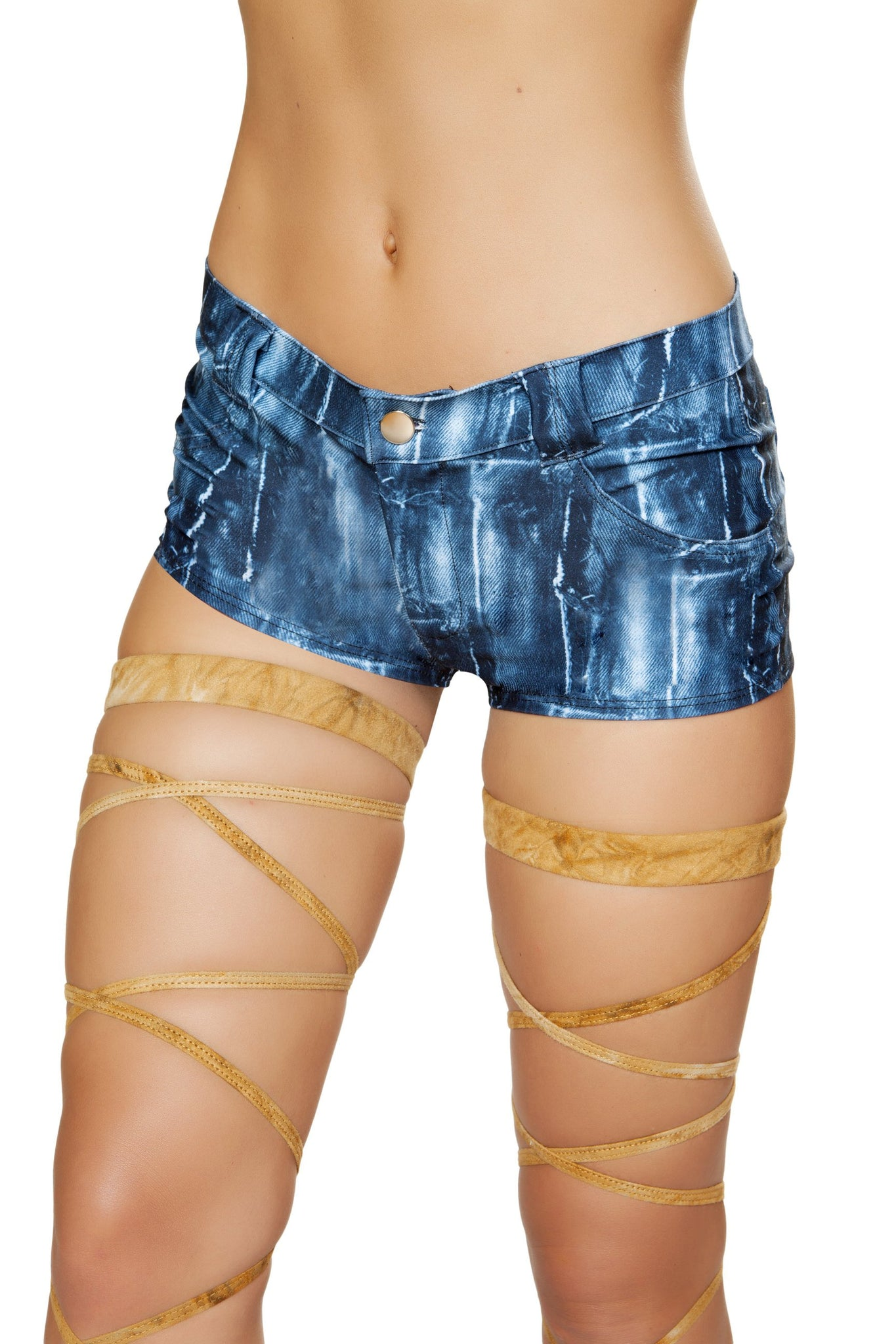 1pc Pocketed Denim Print Shorts