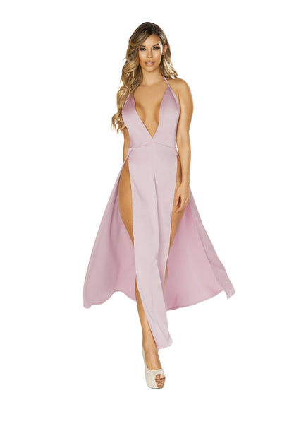 3650 Maxi Length Satin Dress with High Slits & Deep V