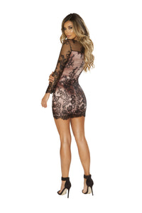 3658 - Long Sleeved Eyelash Lace Dress with Pink Satin Lining